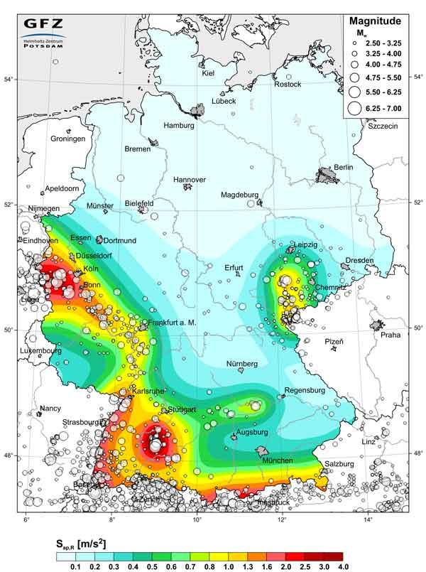 Erdbebenrisiko Karte Deutschland (Quelle: Deutsches Geoforschungszentrum Potsdam)